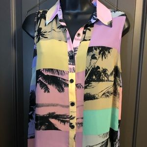 Forever 21 Sheer Blouse - Fun Tropical 🌴 Design